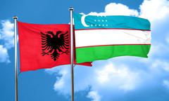 Albania flag with Uzbekistan flag, 3D rendering Stock Illustration