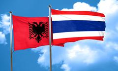 Albania flag with Thailand flag, 3D rendering - stock illustration