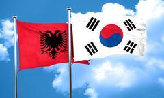 Albania flag with South Korea flag, 3D rendering - stock illustration