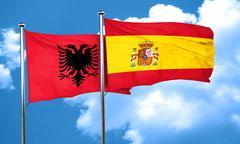 Albania flag with Spain flag, 3D rendering - stock illustration