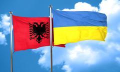 Albania flag with Ukraine flag, 3D rendering - stock illustration