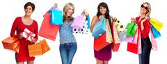Group of happy shopping customers. - stock photo