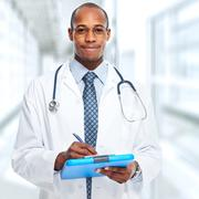 African-American medical doctor. - stock photo