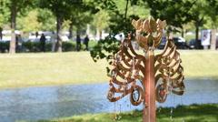 Installation in the Mikhailovsky Garden, St. Petersburg, Russia Stock Footage
