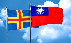 aland islands with Taiwan flag, 3D rendering - stock illustration