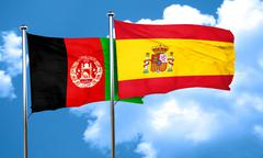 Afghanistan flag with Spain flag, 3D rendering Stock Illustration
