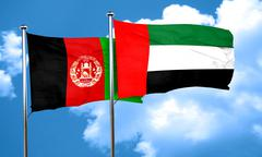 Afghanistan flag with UAE flag, 3D rendering Stock Illustration