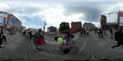 360Vr Video Group of Kids City Day in Opole Backpacker People at the Fair on Stock Footage