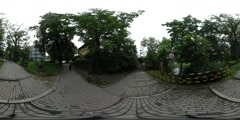 360Vr Video Young Tourist on the Cobbled Road City Day Peope Are Walking in the Stock Footage