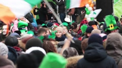 Celebration of irish St. Patrick's Day in Moscow, Russia - stock footage