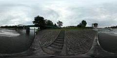 360Vr Video Odra River Young Man Backpacker is Walking by the Embankment Stock Footage