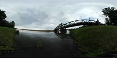 360Vr Video River Bank Grass Bridge Through River Cars Are Driven by the Stock Footage