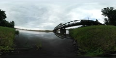 360Vr Video Small River Bank Green Grass Bridge Through River Cars Are Driven Stock Footage