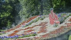 Installation Flying Carpet in Mikhailovsky Garden, St. Petersburg Stock Footage