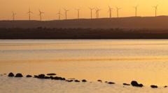 Wind farm at Salt lake in Larnaca, Cyprus Stock Footage