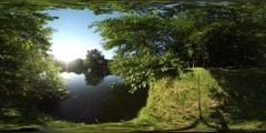 360Vr Video Nice View on the Lake in City Park Spherical Panorama Sun Light is Stock Footage