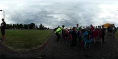360Vr Video Children's Day Opole Group of Kids View of Park at Odra Traveling Stock Footage