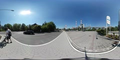 360Vr Video Man on Edge of City in Sunny Day Industrial Cityscape Factory Pipes Stock Footage