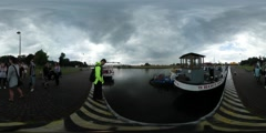 360Vr Video People on the Pier Are Waiting Ship at the Pier Traveling by Odra Stock Footage
