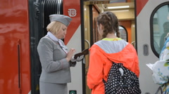Passengers at the double-decker train Mikhail Ulyanov Stock Footage