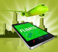 Flights Online Meaning Web Site And Searching - stock illustration