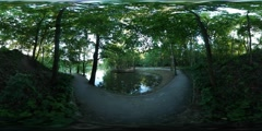 360Vr Video Footpath Crossing the Bay Spherical Panorama Man is Walking by the Stock Footage