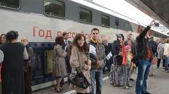 Passengers at the double-decker train Mikhail Ulyanov - stock footage