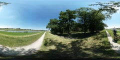 360Vr Video Backpacker is Riding by the Road on Field Spherical Panorama Man on Stock Footage