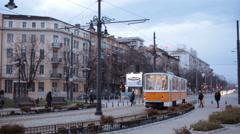 Tram on the Lions bridge in Sofia, Bulgaria Stock Footage