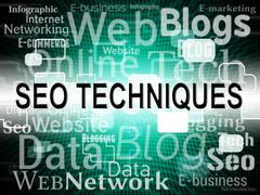 Seo Techniques Showing Search Engines And Website Stock Illustration