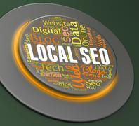Local Seo Indicating Search Engine And Internet - stock illustration