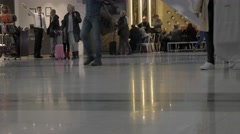Legs commuters walking city underground subway airport crowd people time lapse - stock footage