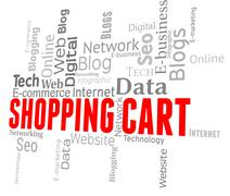 Shopping Cart Showing E-Commerce Www And Order - stock illustration