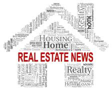 Real Estate News Representing For Sale And Buildings - stock illustration