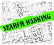 Search Ranking Indicating Internet Ranked And Optimizing - stock illustration