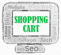 Shopping Cart Indicating On-Line Purchase And Computers - stock illustration