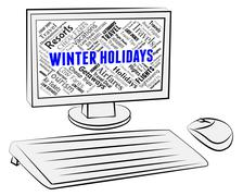 Winter Holidays Showing Vacationing Wintertime And Computers Piirros