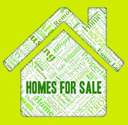 Homes For Sale Showing Advertisement Selling And Houses - stock illustration