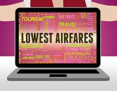Lowest Airfares Meaning Current Prices And Amount - stock illustration