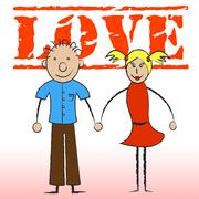 Love Couple Representing Boyfriend Couples And Partners - stock illustration