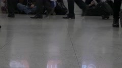 Legs commuters walking city underground subway airport crowd people time lapse Stock Footage