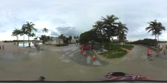 Bikers pov Ocean Drive motion 360 video Stock Footage