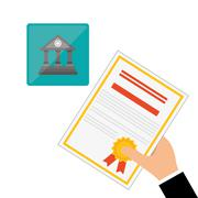 Education design. University icon. Colorfull and isolated illustration, paper on - stock illustration