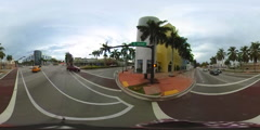 Spherical 360 vr video Miami Beach 5th Street Stock Footage