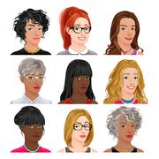 Different female avatars - stock illustration