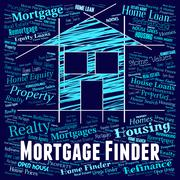Mortgage Finder Indicating Real Estate And Discover - stock illustration