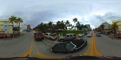 Spherical 360 vr motion video South Beach Ocean Drive Stock Footage