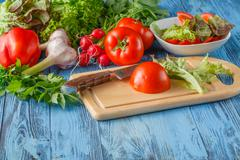 Simple mixed vegetable salad. Stock Photos