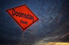 Doomsday Ahead warning road sign - stock photo