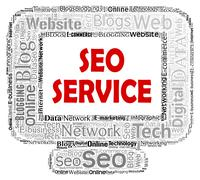 Seo Service Indicating Web Site And Computer - stock illustration